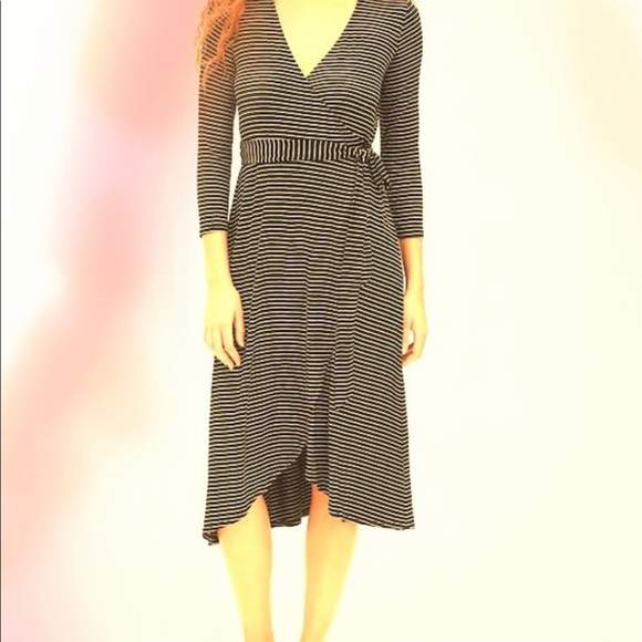 GAP Dresses & Skirts - Gap sweater wrap tie blue and white striped dress